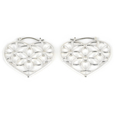 His Truly, Heart with Floral Cutout Dangle Earrings, Zinc Alloy, Silver
