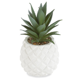 Artificial Succulent in Pineapple Pot, Plastic & Cement, Green & White, 5 x 7 1/2 inches