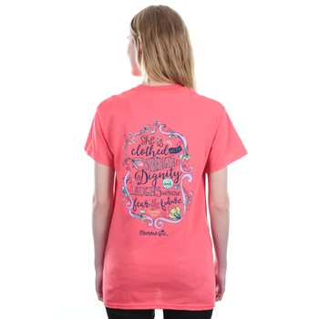 Cherished Girl, Proverbs 31: 25, Strength & Dignity, Women's Short Sleeve T-Shirt, Coral Silk, S-3XL