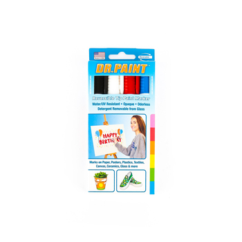 U Mark, Dr. Paint Reversible Tip Paint Markers, Bullet and Chisel Tip, Assorted Colors, Pack of 4