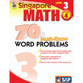 Thinking Kids, Singapore Math 70 Must-Know Word Problems Workbook, Level 3, 160 Pages, Grade 4