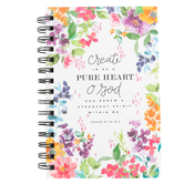 SoulScripts, Psalm 51:10 Create In Me A Pure Heart Journal, Spiral-Bound Hardcover, Floral, 8 x 5   1/4 inches, 160 pages