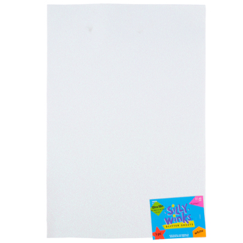 Silly Winks, Glitter Foam Sheet, White, 12 x 18 Inches, 1 Each