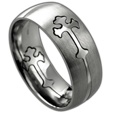 Spirit & Truth, Removable Double Cross, Men's Ring, Stainless Steel, Sizes 8-12