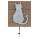 Cat Wall Hook, MDF & Galvanized Metal, 8 x 7 1/4 inches