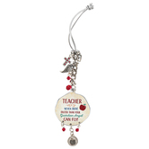 Abbey and CA Gift, Teacher Car Charm, Metal, Red and Silver, 4 inches