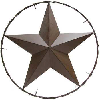 Metal Wall Art, Rustic Lone Star in Barbed Wire, 25 inches