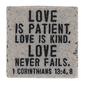 LCP Gifts, 1 Corinthians 13:4,8, Love Is Patient Tabletop Plaque, Cast Stone, 2 1/4 x 2 1/4 inches