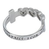 Spirit & Truth, 1 Corinthians 13:8, Love Never Fails Triple Heart, Women's Ring, Stainless Steel, Sizes 5-9