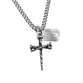 Spirit & Truth, Galatians 2:20 Three Nail Cross and Tag Necklace, Stainless Steel, 24 inches