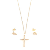 Faithful and Fabulous, Bling Cross Necklace and Earring Set, Iron, Gold, 20 Inch Chain, 3 Pieces