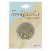 Roman Inc., Footprints Pocket Token, Gold-tone, 1 inch