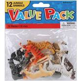 Amscan, Mini Plastic Jungle Animals, 2 x 2 Inches, Assorted, Pack of 12