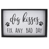 Dog Kisses Fix Any Bad Day Wall Plaque, MDF, Black & White, 10 1/4 x 16 1/2 inches