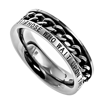 Spirit & Truth, Isaiah 40:31, Strength, Inset Chain, Women's Ring, Stainless Steel