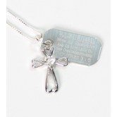 Spirit & Truth, Proverbs 3:5 Heart Cross and Tag Necklace, Sterling Silver and Cubic Zirconia, 16 inches
