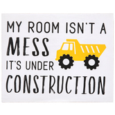 Under Construction Wall Decor, Wood, White and Black, 9 3/8 x 11 x 1 1/4 inches