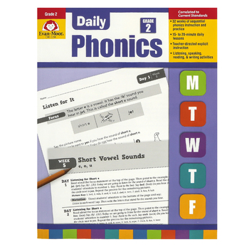 Evan-Moor, Daily Phonics Teacher's Edition, Reproducible, Paperback, 208 Pages, Grade 2