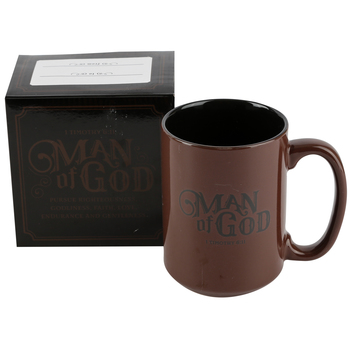 Christian Art Gifts, 1 Timothy 6:11, Man of God Coffee Mug, Brown, 14 ounces