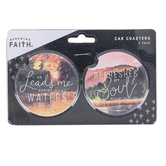 Renewing Faith, Lead and Refresh Car Coaster Set, Absorbent Sandstone, 2 1/2 inches