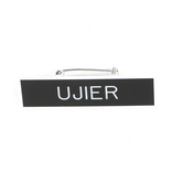 Swanson, Ujier Spanish Usher Badge, Black and White, 2 x 3/4 inches