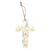 Clear Floral Mini Wall Cross, Acrylic, 6 x 4 inches