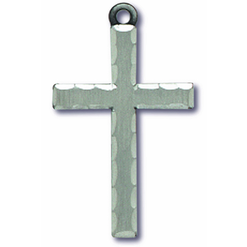 Large Pewter Cross With The Lords Prayer On Flip Side Pendant Necklace