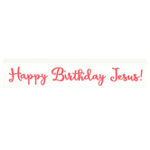 Happy Birthday Jesus Tabletop Plaque, Wood, Red/White, 8 x 1 1/2 Inches
