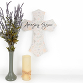 P. Graham Dunn, Amazing Grace Floral Wall Cross, Wood, 12 x 16 inches