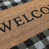 Welcome Buffalo Check Doormat, Coir, Gray, Black, and Brown, 18 x 30 inches