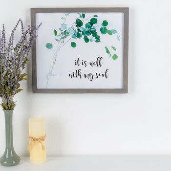 It Is Well With My Soul Framed Wall Decor, MDF, 15 x 16 7/8 x 7/8 inches