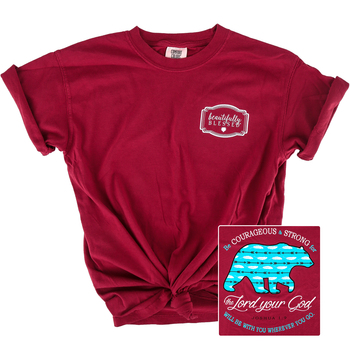 Beautifully Blessed, Joshua 1:9, Be Courageous, Women's Short Sleeve T-Shirt, Crimson, S-2XL