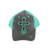 Cherished Girl, Amazing Grace with Cross, Adjustable Cap, Heather Gray and Aqua
