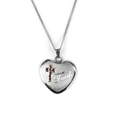 H.J. Sherman, Faith, Heart Pendant Necklace with Pink CZ Cross, 18 inches