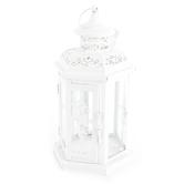 Victorian Candle Lantern, White Metal, 6 x 12