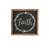 Faith with Floral Wreath, Wooden Wall Art, 10 x 10 inches