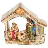 Nativity Scene with Star Figurine, Ceramic, Multicolors, 4 x 3 3/4 x 1 3/4 inches