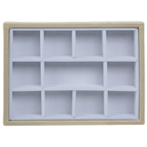 Gadgets And Gizmos, Medium Rectangle Jewelry Display Tray, Wood, White and Gold, 5 1/4 x 7 1/4 x 1 1/4 inches