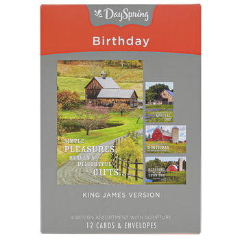 DaySpring, Barn Blessings Birthday Boxed Cards, 12 Cards with Envelopes
