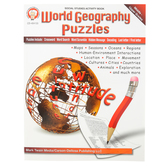 Carson-Dellosa, World Geography Puzzles Activity Book, Reproducible, Grades 6-12