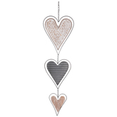 Triple Hanging Hearts Wall Decor, MDF and Metal, Silver, 39 3/8 x 8 x 3/8 inches