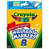 Crayola Washable Broad Line Markers, Bright Colors, 8 Count