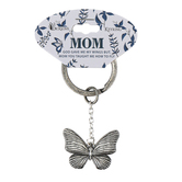 Dicksons, Mom Butterfly Key Ring, Zinc Alloy, 1 3/8 x 3/4 inches