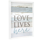 Love Lives Here Wall Decor, MDF, White and Gray and Blue, 19 x 15 x 1 3/8 inches
