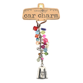 Natural Life, Angel Blessing Bell Car Charm, Zinc Alloy and Glass Beads, 5 Inches