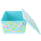 Curver, Flamingo Storage Container with Lid, Plastic, Aqua Blue and Pink, 14 3/8 x 11 1/4 x 6 3/4 Inches, 2 Pieces