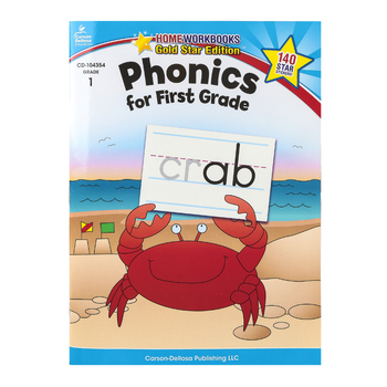 Home Workbooks Gold Star Edition Activity Book: Phonics for First Grade, 64 Pages, Grade 1