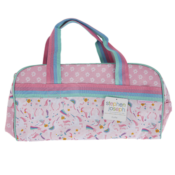 Stephen Joseph, Unicorn Duffle Bag, Polyester, Pink, 16 x 9 x 8 inches