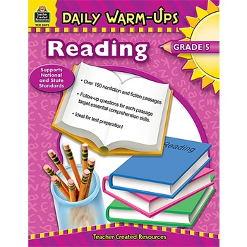 Teacher Created Resources, Daily Warm-Ups Reading Workbook, Reproducible Paperback, 176 Pages, Grade 5