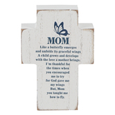 Dicksons, Mom Butterfly Tabletop Cross, MDF, White, 4 inches